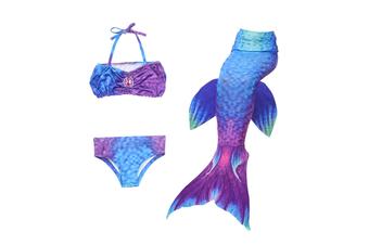 3Pcs Swimmable Mermaid Tail Kids Girls Princess Bikini Set Swimsuit Swimwear - Jp99 130