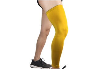 Compression Knee Calf Sleeves Leg Guard Support Antislip Yellow M