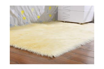 Super Soft Faux Sheepskin Fur Area Rugs Bedroom Floor Carpet Beige 100X100CM