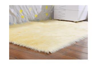 Super Soft Faux Sheepskin Fur Area Rugs Bedroom Floor Carpet Beige 80X80CM