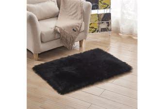 Super Soft Faux Sheepskin Fur Area Rugs Bedroom Floor Carpet Black 80X80CM