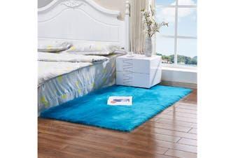 Super Soft Faux Sheepskin Fur Area Rugs Bedroom Floor Carpet Blue 80X80CM