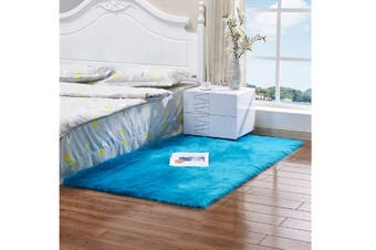 Super Soft Faux Sheepskin Fur Area Rugs Bedroom Floor Carpet Blue 90X90CM