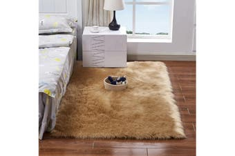 Super Soft Faux Sheepskin Fur Area Rugs Bedroom Floor Carpet Camel 100X100CM