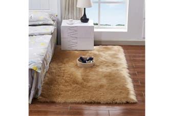 Super Soft Faux Sheepskin Fur Area Rugs Bedroom Floor Carpet Camel 90X90CM