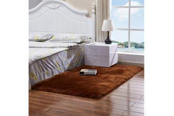 Super Soft Faux Sheepskin Fur Area Rugs Bedroom Floor Carpet Coffee 100X100CM