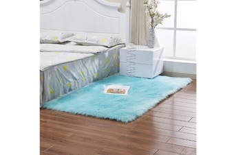 Super Soft Faux Sheepskin Fur Area Rugs Bedroom Floor Carpet Light Blue 100X100CM