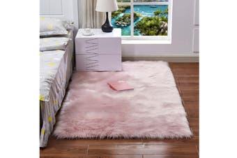 Super Soft Faux Sheepskin Fur Area Rugs Bedroom Floor Carpet Light Pink 80X80CM