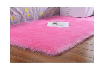 Super Soft Faux Sheepskin Fur Area Rugs Bedroom Floor Carpet Pink 100X100CM