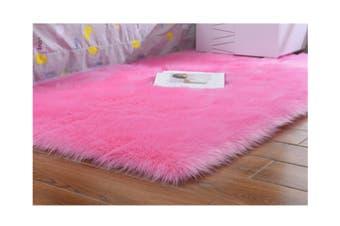 Super Soft Faux Sheepskin Fur Area Rugs Bedroom Floor Carpet Pink 80X80CM