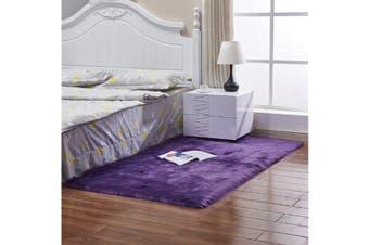 Super Soft Faux Sheepskin Fur Area Rugs Bedroom Floor Carpet Purple 90X90CM