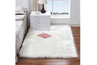 Super Soft Faux Sheepskin Fur Area Rugs Bedroom Floor Carpet White 90X90CM