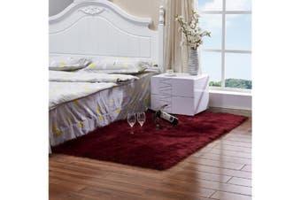 Super Soft Faux Sheepskin Fur Area Rugs Bedroom Floor Carpet Wine Red 80X80CM