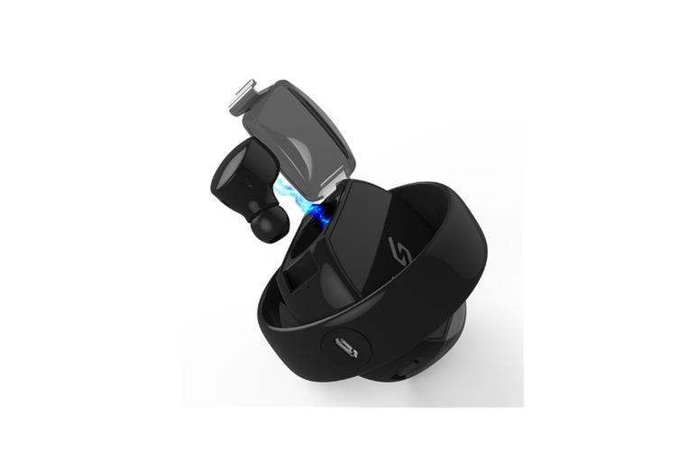 Rotating Battery Compartment Stereo Binaural Call 5.0 Bluetooth Headset Black