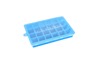 24 Grids Silicone Ice Cube Mode With Cover Frozen Tray Ice Making Mold - Blue Blue Lid