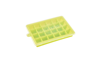 24 Grids Silicone Ice Cube Mode With Cover Frozen Tray Ice Making Mold - Green Green Lid