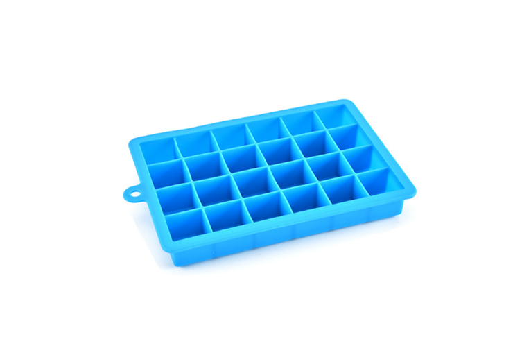 24 Grids Silicone Ice Cube Mode With Cover Frozen Tray Ice Making Mold - Purple Purple Lid