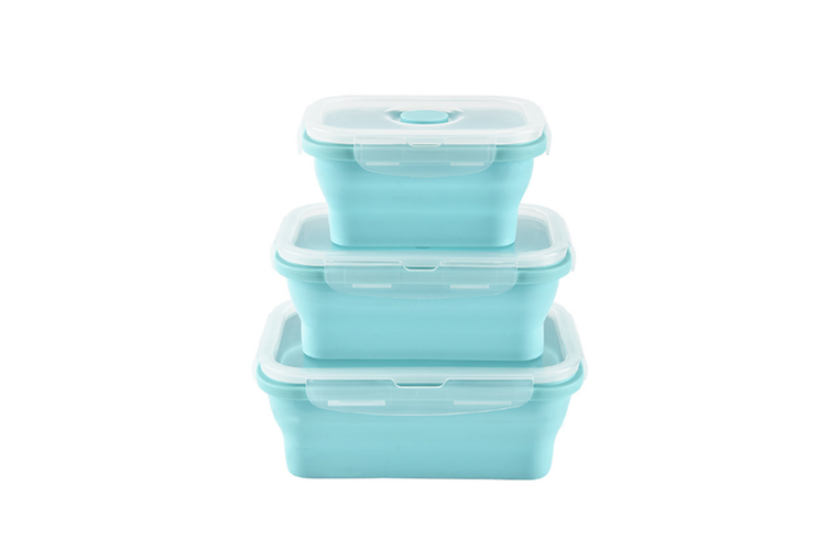 Square Silicone Folding Lunch Box Storage Box Sets - Blue Blue