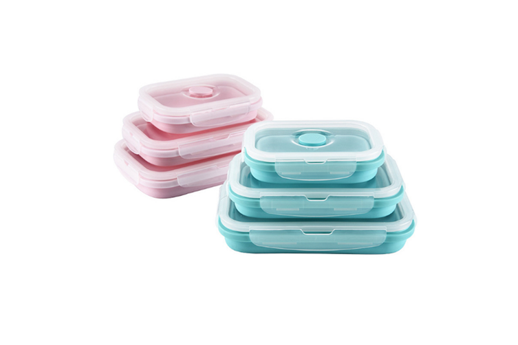 Square Silicone Folding Lunch Box Storage Box Sets - Pink Pink