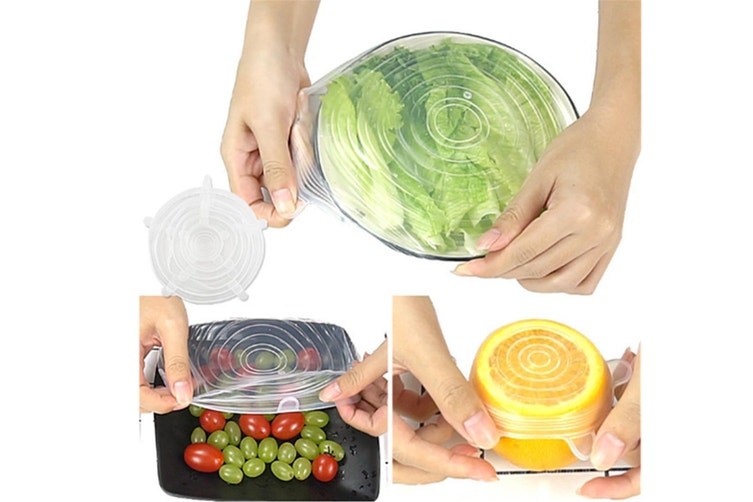 Reusable Silicone Stretch Lids Food Cover With 6-Pack Of Various Sizes - Blue Blue