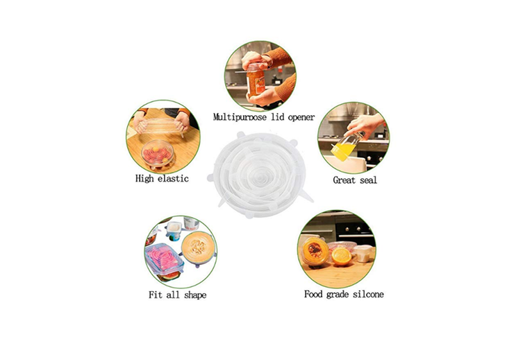 Reusable Silicone Stretch Lids Food Cover With 6-Pack Of Various Sizes - Pink Pink