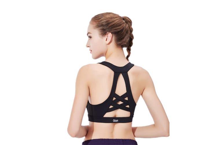 Yoga Bra Support Sports Running Shock-Proof Gathering Sports Black S