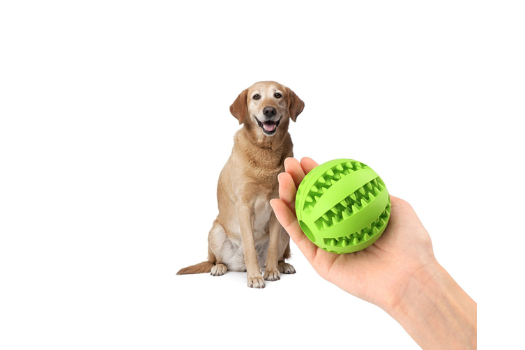 Food Dispensing Dog Toy,Non-Toxic Natural Rubber Tooth Cleaning Toy Red 7Cm