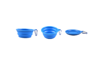 Pet Cat Food Water Feeding Foldable Portable Travel Bowl Blue