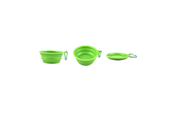 Pet Cat Food Water Feeding Foldable Portable Travel Bowl Green