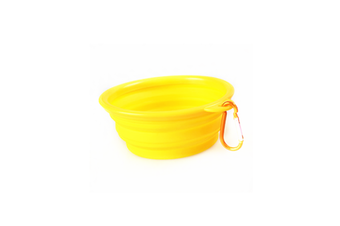 Pet Cat Food Water Feeding Foldable Portable Travel Bowl Yellow