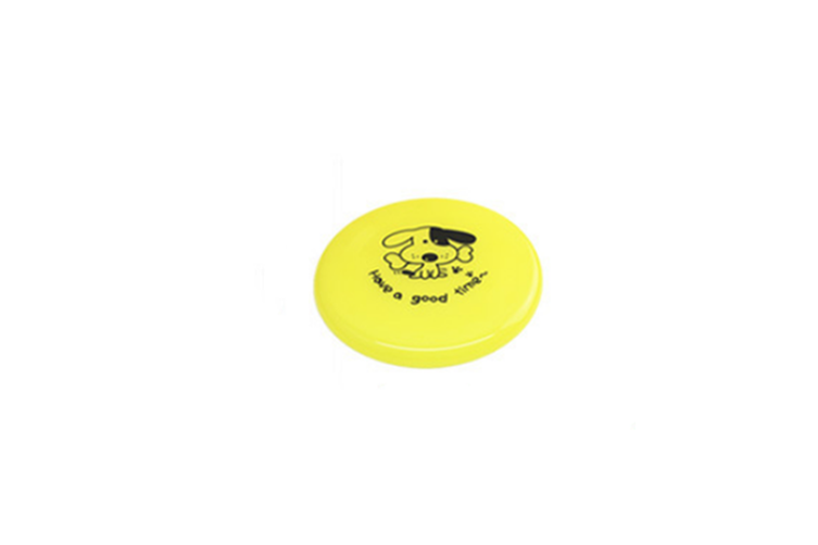 Large Dog Puppy Plastic Frisbee Fetch Flying Disc Training Toy Yellow 20Cm