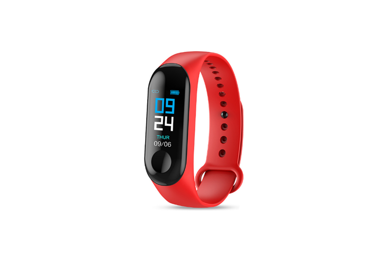 M3X Color Screen Blood Heart Rate Monitor Smart Watch Pedometer Red