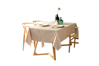 Pvc Waterproof Tablecloth Oil Proof And Wash Free Rectangular Table Cloth Beige 140*260Cm