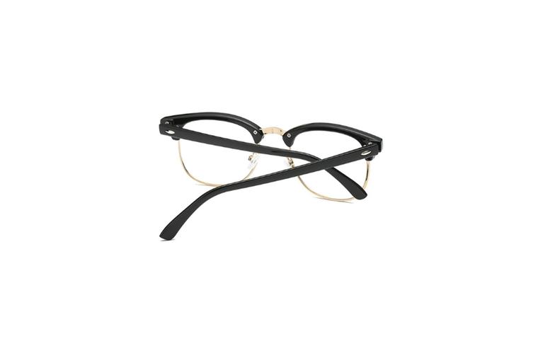 Blue Light Blocking Myopia Glasses Semi-Rimless Lens Eyewear Frame - 1 Silver 250 Degrees