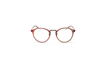Classic Round Shape Full Frame Nearsighted Myopia Glasses - 3 Brown 600 Degrees Myopia
