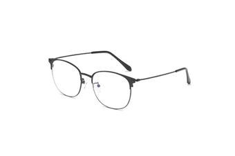 Round Flat Mirror Ultra Light Metal Glasses Frame Blue Light Protection Glasses - Black Black