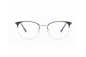 Round Flat Mirror Ultra Light Metal Glasses Frame Blue Light Protection Glasses - Black Gold Black