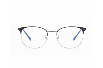 Round Flat Mirror Ultra Light Metal Glasses Frame Blue Light Protection Glasses - Black Silver Black