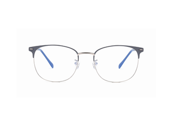 Round Flat Mirror Ultra Light Metal Glasses Frame Blue Light Protection Glasses - Blue Silver Blue