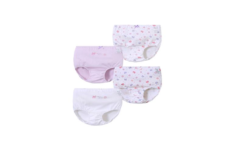 4Pcs Girls Toddler Cute Cotton Panties Underwear - 3 Purple 100Cm