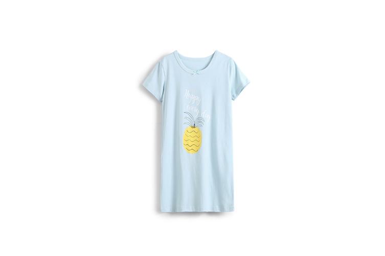 Girl'S Nightgowns Round Collar Sleepwear Cotton Cute Fruit Princess Nightdress - Blue Blue 170Cm