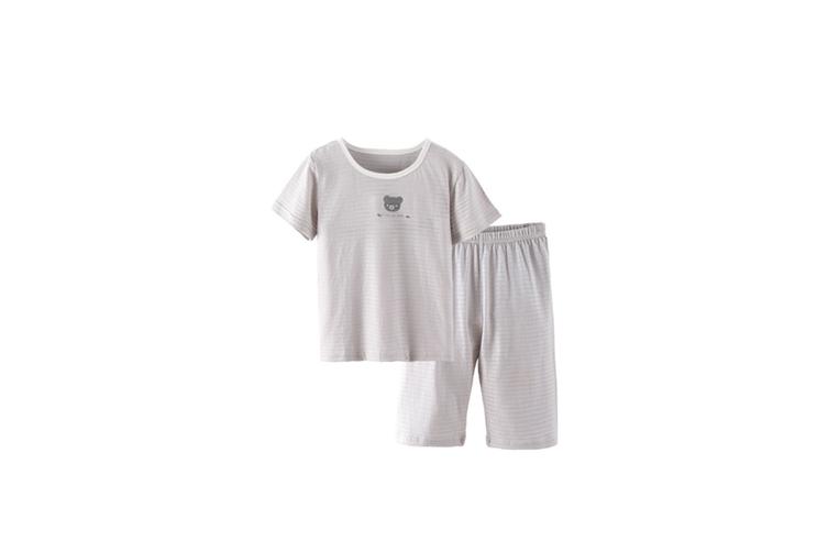 2Pcs Boys Girls Soft Cotton Short Sleeved Home Suit - Grey Grey 150Cm