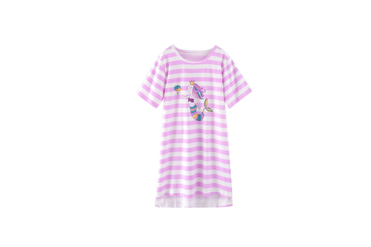 Nightgowns For Girls Cotton Pajamas Dresses Short Sleeve - 5 Purple 130Cm
