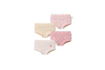 4Pcs Girls Underwear Set Soft Cotton Breathable Briefs - Yellow Yellow 120Cm