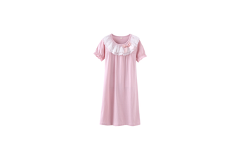 Little Girls Princess Nightgown Cotton Lace Bowknot Sleepwear Nightdress - Pink Pink 120Cm