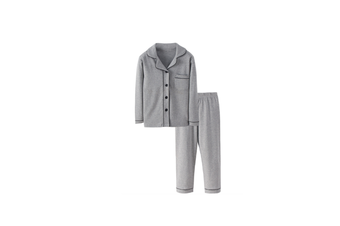 2Pcs Unisex Pajamas Suit Children Pajamas Long-Sleeved Pajamas Clothes - Grey Grey 140Cm