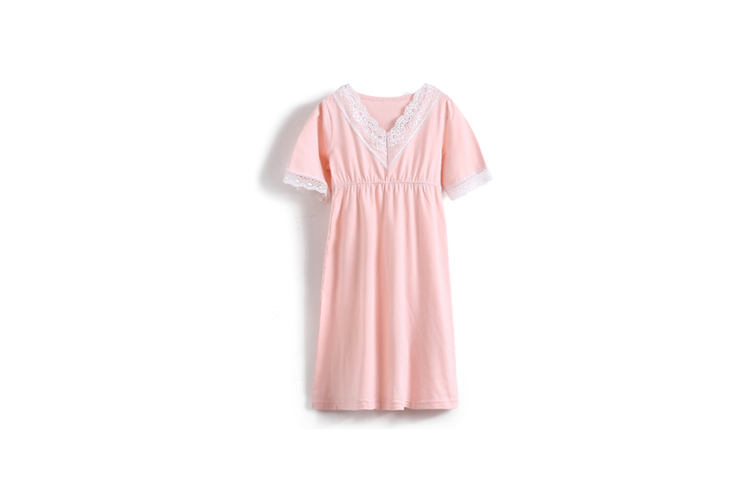 Girl'S Nightgowns V-Collar Sleepwear Cotton Princess Nightdress - Pink Pink 160CM