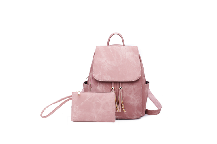 Women'S Shoulder Bag Fashionable Leather Cute Mini Backpack Wallet Pink