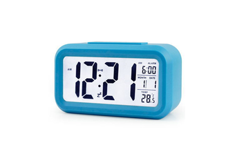 Temperature Alarm Clock Silence Electronic Clock Creative Digital Clock Blue