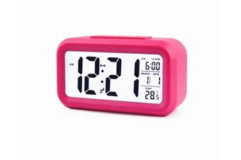 Temperature Alarm Clock Silence Electronic Clock Creative Digital Clock Rose Red